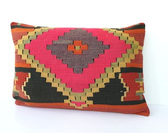 Vintage kilim pillow large 40x60 cm / 16x24 inch