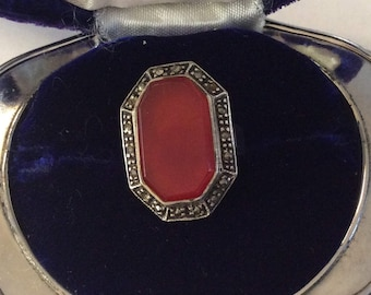sterling silver and carnelian Art Deco  ring size 5 # 1065