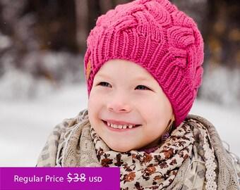 SALE -20% ||| Fuchsia Knit Hat | For Kids | Knit hat | Knit Cap | Winter Hat | Autumn Hat | Merino wool accessories