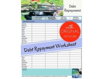 items similar to debt payoff worksheet pdf file download it now great tracker for paying credit. Black Bedroom Furniture Sets. Home Design Ideas