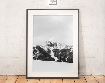 Alpine Landscape, Original Artwork, Mountain Photography, Winter Landscape, Snow, Digital Download, Home Decor, Photography, Black and White