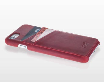 iPhone 7 Handmade Slim Cover Credit Card Snap-On Case In Antique  Leather Vintage Red Elegance Design OCCC-G4-IP7