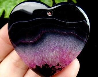 Amazing, black pink Agate pendant stone (E88)