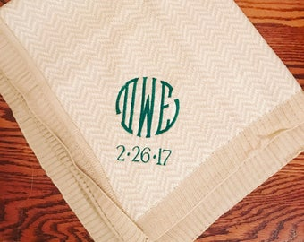 Tan baby blanket w name or monogram and date