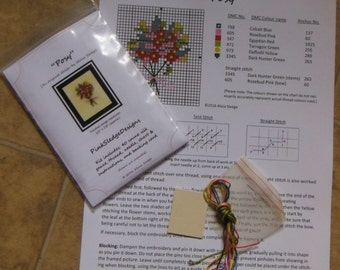 """1/12th Scale Miniature Needlpoint """"Posy"""" picture, ideal for your dollshouse"""
