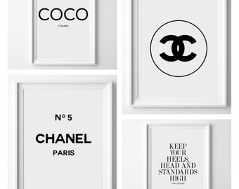 4 for the price of 2! Chanel print set - chanel print - typography print - coco chanel - cc - fashion print