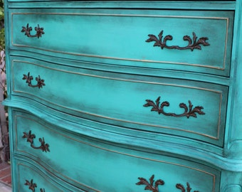 SOLD-Vintage French provincial highboy dresser / chest of drawers turquoise / teal / green - shabby chic