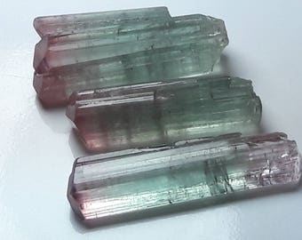 bi color tourmaline crystals , raw tourmaline crystals lot , rough tourmaline crystals , tourmaline pendent , tourmaline jewelry 3 pieces