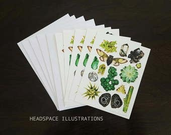 Green Glory A6 Blank Notecards 5 Pack Greeting Sympathy Thank you Anniversary Gift Colored Pencil Art Cards by Headspace Illustrations