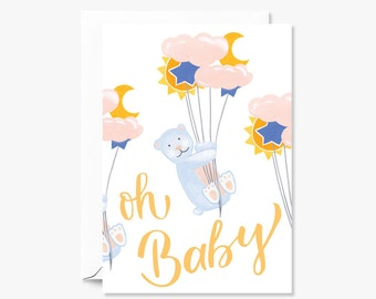 Oh Baby Bears on Clouds, Stars and Moon Newborn in Pastel | Illustrated Greeting Card