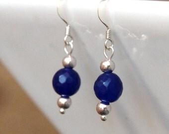 Sapphire earrings, Gemstone earrings, September birthstone, birthday gift, Sterling silver, gifts for women, girlfriend gift, sapphire beads
