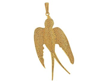 925 Silver Gold Plated Genuine Pave Diamond Bird Pendant Jewelry