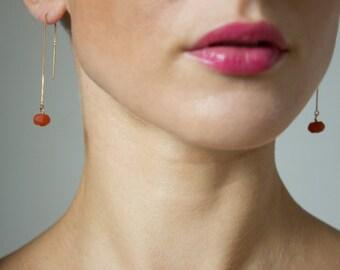 Sale 40% earrings gold filled 14 k, goji Berry ochre bead, handmade, bo chain, chain earrings