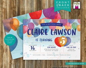 Watercolor Balloon Invitation Boy or Girl Printable 5x7 4x6