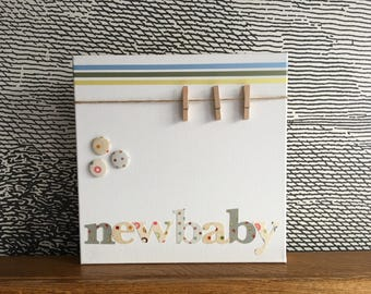 "Personalised decorative peg board - 12"" x 12"" - new baby - neutral"