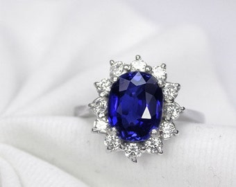 3.28 ct Wedding ring blue sapphire ring silver sterling.