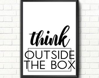 Office Printable art decor Inspirational quote Motivational print Modern office decor sign Scandinavian art Think outside the box