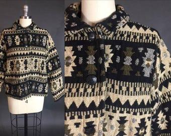 90s Vintage CHICO'S DESIGN Native Blanket BOHO Cropped Jacket M/L
