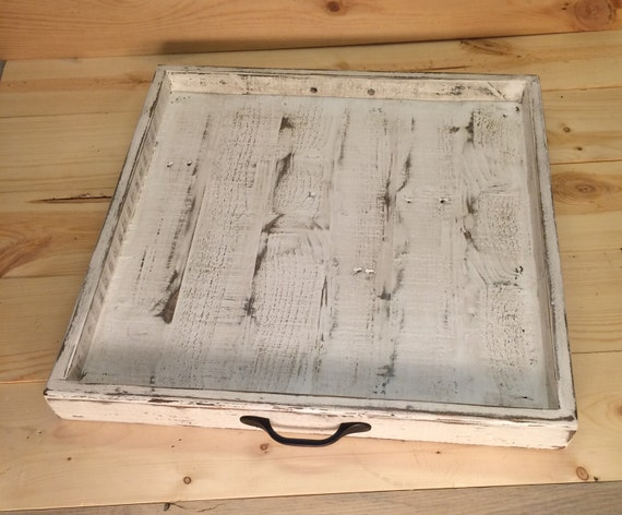 Rustic Serving Tray, Ottoman Tray,Serving Tray With Handles, Square Tray, Wooden Tray, Tea Tray, Centerpiece, Reclaimed Tray, Shabby Chic