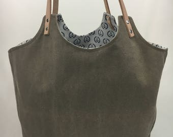 One of a kind large handbag of tote bags washed canvas
