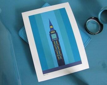 Print of London Big Ben, London landmark print