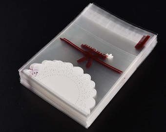 10 x Gift / Jewellery / Wedding Favour Clear Bags Lace Design marked 'Handmade', Self Adhesive