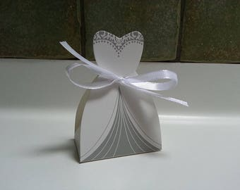 12 x Wedding Dress Favour Boxes with Ribbon