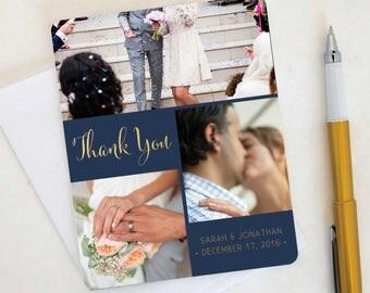 Fun Flip Wedding Thank You Card, Custom Photo Wedding Thank You Cards Gold Foil Wedding Thank You Cards Vintage Gold Foil Wedding Sarah10