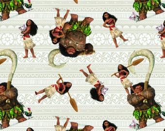 Disney Fabric - Disney Moana 59624 Moana & Friends 100% Cotton fabric by the yard ***SC1***
