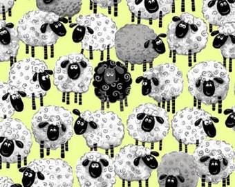 "Susybee's Fabric - Susybee's Lewe sheep all over Green 100% cotton 42"" X 36"" fabric by the yard, E310"