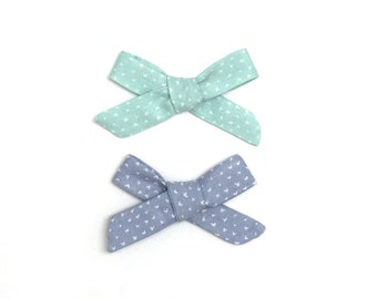 Hair Bow // Two Hair Bows // Mini Heart Bow // Toddler Bow // Baby Bow // Blue Bow // Bows