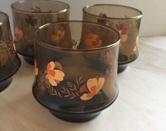1970s Juice Glasses - Brown Glassware - Orange Flower Drinking - Set of 4 - Vintage Barware - Floral Glasses - Vintage Drinking Glasses