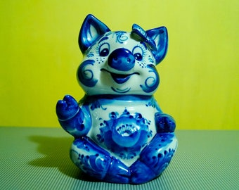 Russian porcelain figurine Gzhel happy pig & butterfly hand painted handmade box money piggy Bank
