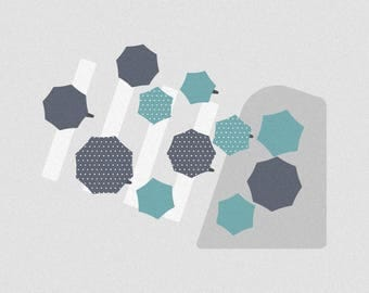 "Umbrellas in the City - 12"" x 12"" Simple Minimalistic Canvas Print - Good Birthday Present"