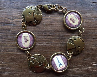 Vintage Style Antique Brass World Travel Disc Charm Bracelet