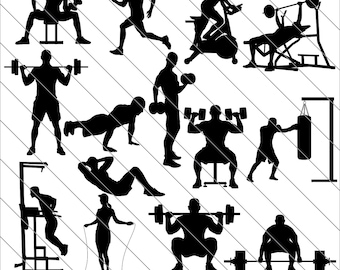 Gym Silhouettes SVG,workout silhouettes,gym clipart, bundle svg,Gym svg Cut File,DXF,PNG Use with Silhoutte Studio & Cricut Instant Download