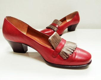 Designer Vintage, UK4, Bruno Magli, Italian, Designer Shoes, Leather, Vintage Footwear, Shoes, PinUp, Red Leather, Vintage Shoes