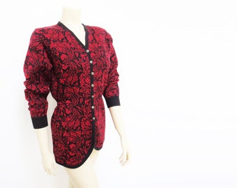 Vintage Cardigan, UK8, PinUp Cardigan, Vintage Clothing, Red Cardigan, Feminine, Boho, Knit, Wool Cardigan