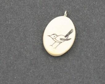 Bird pendant, Dainty Little Bird on Dainty Little Pendant, For the Bird Lover,