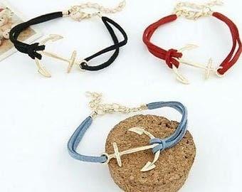 Black and Gold Anchor Bracelet