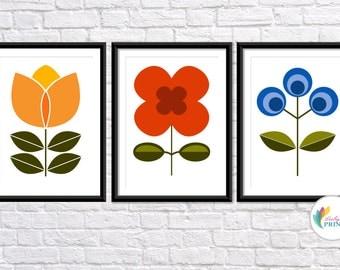 Mid Century Design Flower Prints - Set of 3 - Kitchen Prints - Scandi Prints - Flower Prints - Retro Prints - Bright Kitchen Prints