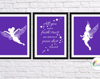 Download - Tinkerbell Printable - Set of 3 Violet Tinkerbell Fairy  Prints - Set of 3