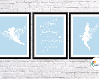Download - Tinkerbell Printable - Set of 3 Baby Blue Tinkerbell Fairy  Prints - Set of 3