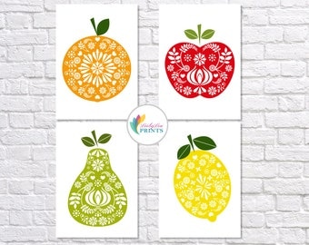 Retro Fruit Prints - Set of 4 - Mid-century kitchen prints - 4 set Fruit Prints - 4 set Kitchen Prints - Scandinavian Design Fruit Prints