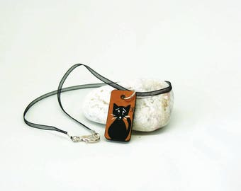 Brown rectangular pendant with black cat - Necklace with black cat - Necklace with ribbon and cat