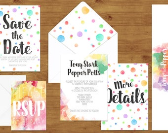 Colourful Rainbow Watercolour Wedding Invitations Stationery Set