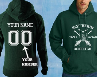 Slytherin Quidditch Hoodie Slytherin Team Captain Hooded sweatshirt Customize Name and Number, Unisex S - XXL