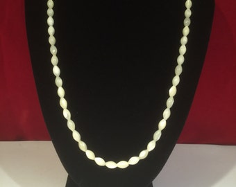 Vintage White Shell Necklace - With Silver 925 Clasp