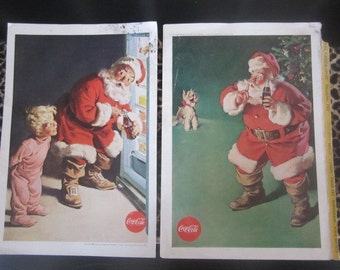Two Vintage Santa Coca-Cola Ads National Geographic Coca-Cola Santa Images 1959 & 1960