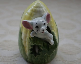 Mouse In Sweetcorn, Kitsch Ornament, Retro China Mouse, Pottery Mouse, Small Collectible, Foreign China, Mouse Figurine, Vintage China Mouse